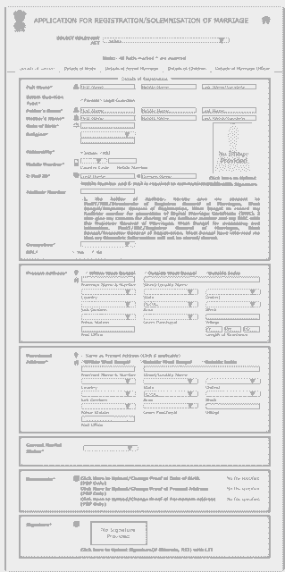 WB Marriage Registration Application From
